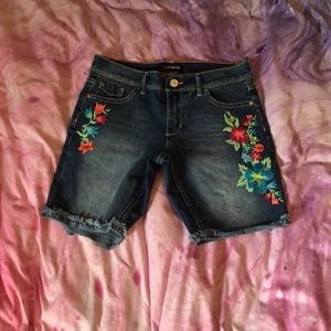 Light blue jean shorts with flowers